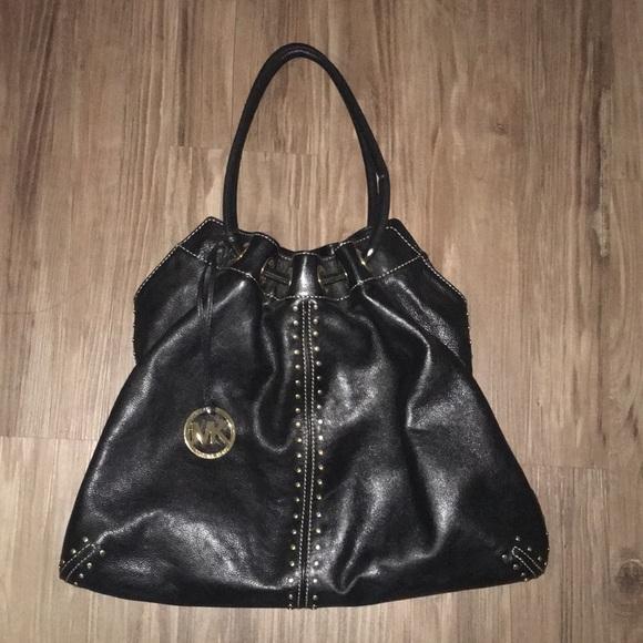 9c213c089186 MK Astor Studded Ring Tote Black Leather Hobo Bag.  M_5b7c6362f303696721197ff6